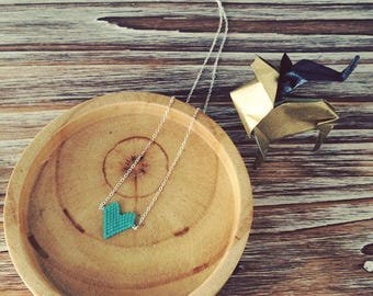 Necklace heart weaving beads Miyuki turquoise