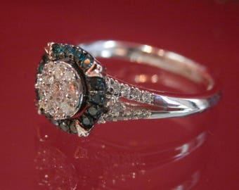 Handmade OOAK Blue Diamond and Diamond Ring (FREE Resizing Available)