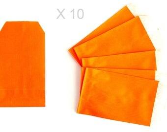 10 pochettes cadeau en papier kraft ORANGE vif 13 cm/ 7 cm