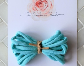 Blue Lightweight Ribbon baby bow headband or baby clip with  suede tie