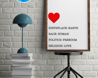 World Love Home Décor Print by North C Designs