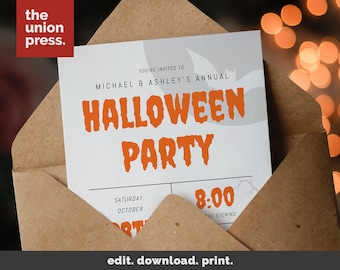 halloween party invitation printable template costume party printable invitation instant download diy halloween - Homemade Halloween Party Invitations