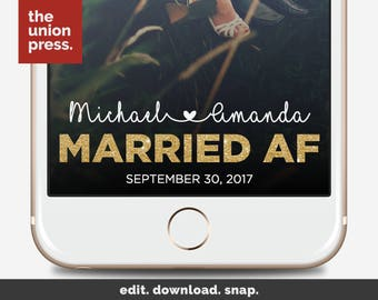 Wedding Snapchat Filter - Snapchat Filter Wedding Gold - Married AF Snapchat Filter - Married AF Geofilter
