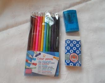 school supply, school set includes 12 pencil color, 1 Eraser, 1 Pencil Sharpener