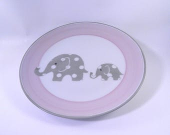 Baby plate, personalized, pink and gray polka dots