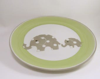 Plate, personalized baby, green and taupe polka dots