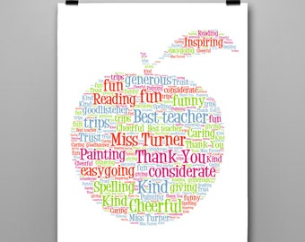 Personalised Gift Printable Word Art Teacher, Thank You, Teaching Assistant
