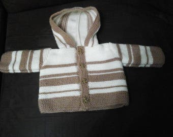 HAND KNITTED COAT HOODED 3 MONTH SIZE