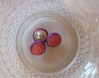 purple flower button fabric rose