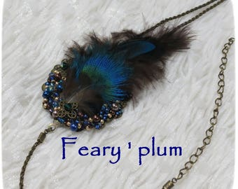 "*~. Headband ""Feary-plum"". ~ * color blue, green, bronze, original, unique, feather headband"