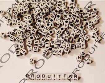 Set of 200 letters beads Cube acrylic Alphabet size 6 mm black and white necklace jewelry pendant