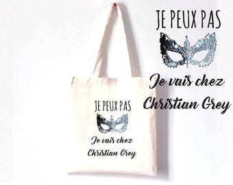 """TOTE BAG 100% cotton """"I can't I'm going to Christian Grey"""""""