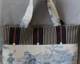 Tote ticking - Toile de Jouy - lace - buttons