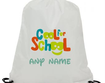 Personalised  cool for school sublimation swimming pe gym school drawstring bag