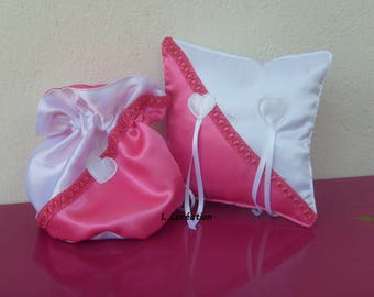 purse and bag in pink and white satin ring pillow