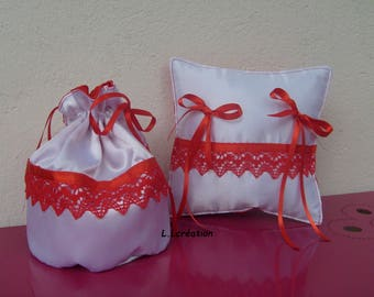 Red and white satin ring pillow and pouch