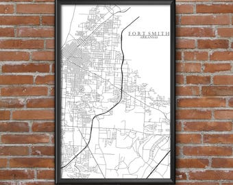 Fort Smith, Arkansas Map Art
