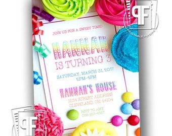 Cupcake Birthday Invitation - Cupcake Birthday Party - Cupcake Birthday Invites - Cupcake Birthday Invitations - Sweets Birthday Invitation