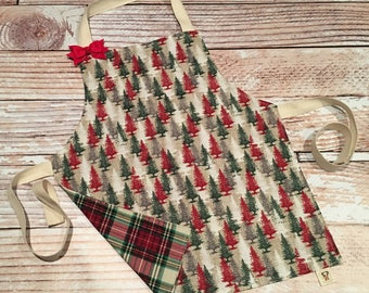 Toddler Size Apron- Holiday Trees