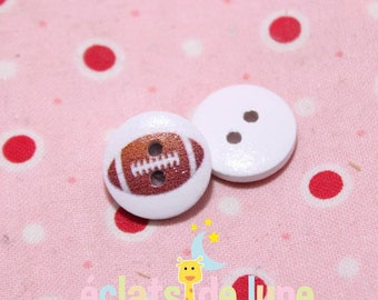 Wooden buttons round 15mm set of 10 football pattern