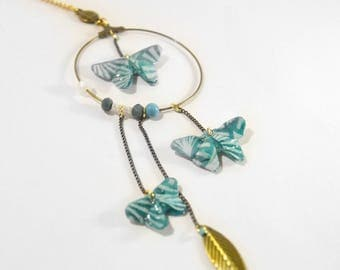 Origami butterflies in Okinawa 沖縄 necklace. Gold-plated