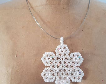 Czech beads and Swarovski Crystal snowflake pendant