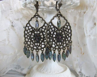 Bohemian earrings with swarovski vitrail medium Crystal and resin drops