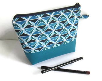Blue asanoha make-up case, vanity case faux leather and cotton, geometric make-up pouch, make-up graphic