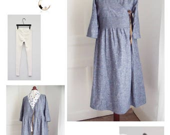 High waist linen wrap dress