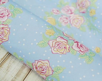 Sky blue silky cotton fabric roses shabby 110 * 50 cm white dots