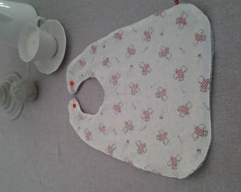 Gray printed bears and Terry baby bib