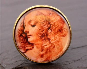 renaissance portrait glass cabochon ring
