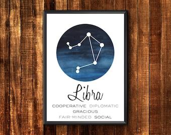 Libra Print | Libra Art | Libra Gift | Libra Constellation Print | Libra Poster | Libra Wall Print | Libra Wall Art | Libra Home Decor