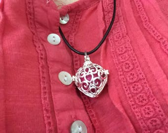 Heart shaped necklace calling the angels-prayer box with chime ball