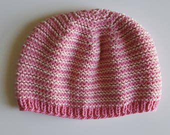 Pink ombre Moss stitch Hat