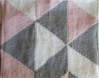 Fancy color pink, grey and white baby blanket
