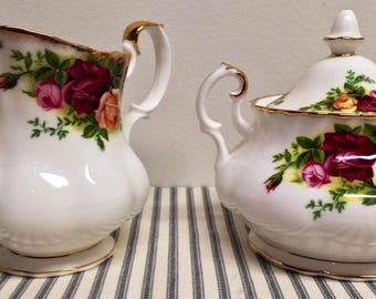 Royal Albert/Old Country Rose/Cream and Sugar Set/English China/Farmhouse Style/Garden Party/Tea Party
