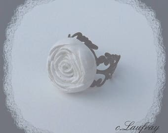 Shabby style with flower shaped, pink white ceramic ring, Black Lace ring