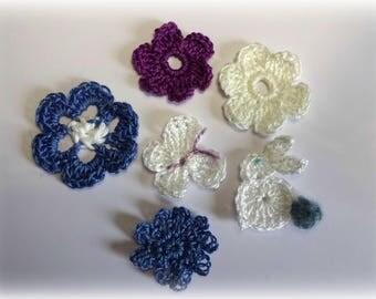 set of crochet applique boats and fish