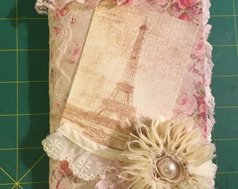 Pink- Shabby chic vintage themed Travelers notebook Junk journal