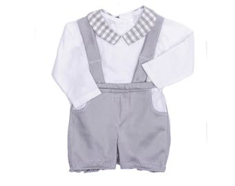 Bermuda suspenders baby boy baptism gray chic wedding ceremony shirt