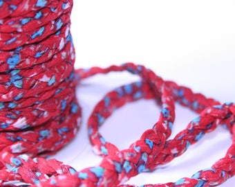 Braided cord Ribbon Liberty Red 7 mm x 1 meter