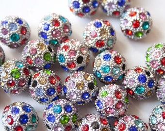 Pearl Shamballa Metal multicolored rhinestone 1.2 cm