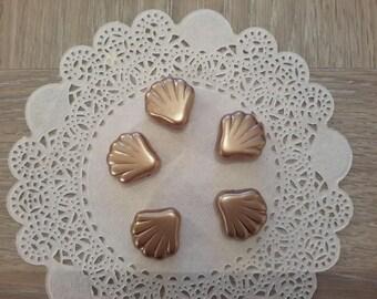 Set of 5 glass beads representing shells