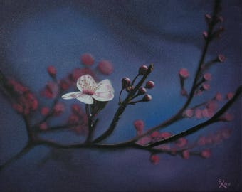 Painting acrylic painting realistic style cherry blossom