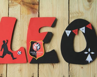 wood letter name - football theme