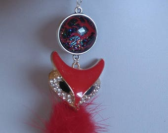 Jewelry scarf fox red cabochon