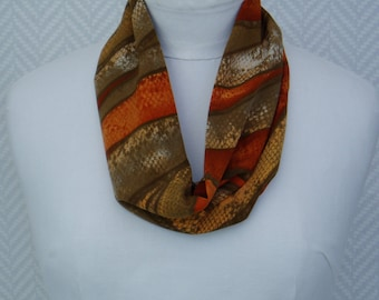 Scarf, snood, orange, Brown ethnic fabric.