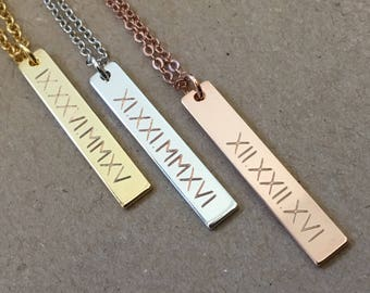 Vertical Bar Necklace, Personalized Roman Numeral Vertical Bar Necklace, Skinny Bar Necklace, Rose Gold Silver Bar Necklace, Bridesmaid Gift
