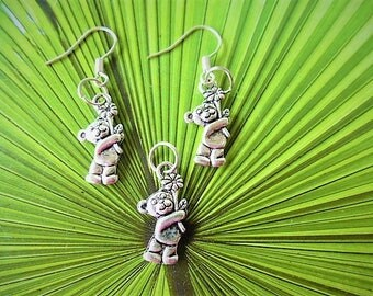 charm and silver Tibetan for adults and children set of 3 bears earrings